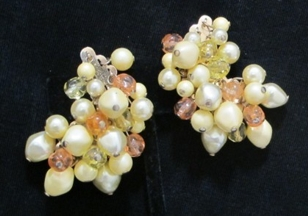Ear Climbers Yellow & peach crescent earrings necklace set CU earrings REV