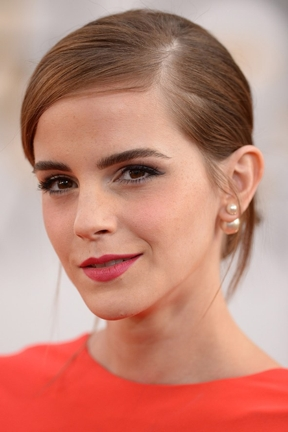 front-back earrings Emma Watson CU Dior earrings vogue.co.uk 2014 Golden Globes REV