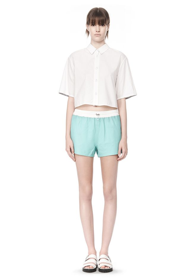 0315 T by Alexander Wang cropped short sleeve poplin shirt model 5-11 size 2