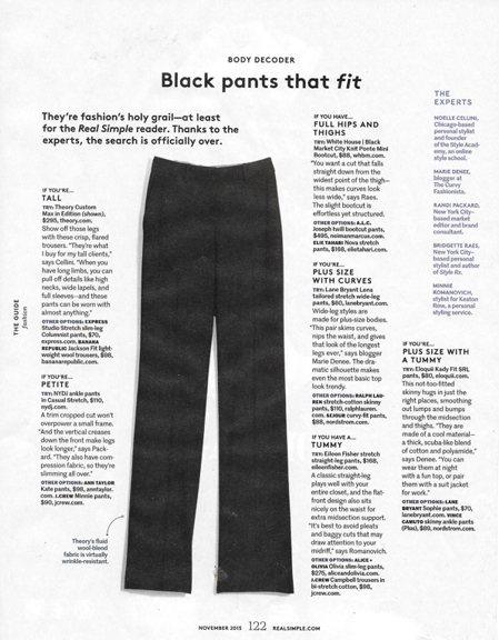1015 black pants that fit Nov 2015 Real Simple REV