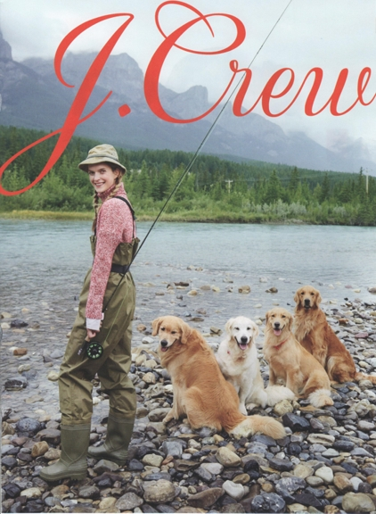 1216 J. Crew ad woman fishing with her dogs outdoors REV