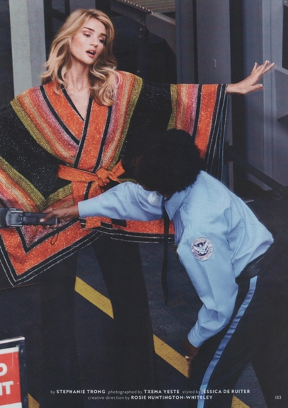 0217 Rosie Huntington-Whiteley in Balmain poncho REV