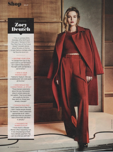 0917 Zoey Deutch in LA Mag 1017 Max Mara burgundy REV
